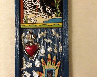 Gone Fishing, Nicho, Altar, Shrine, Ofrenda, Skeleton, Calavera, Sacred Heart, Milagros