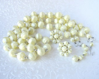 Matching Necklace Earrings Parure Set Pale Yellow Beaded w/ Cluster Bead Clip Satin Earring Beads 1950s Vintage Costume Jewelry 2 Strand