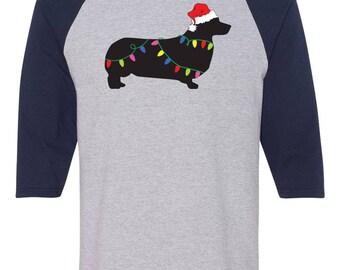 Christmas Pembroke Welsh Corgi Raglan Sleeve Cotton T-shirt