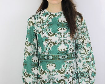 1960s Green Abstract Print Puff Sleeve Tunic Size UK 8, US 4, EU 36