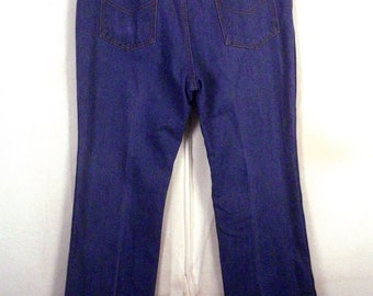 vtg 70s Sears Roebucks Blue Stretch Denim Jeans straight leg USA made 38 X 30