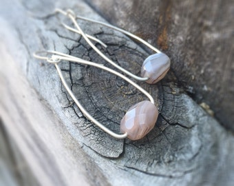 Agate Swing Modern Sterling Silver Earrings