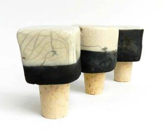 3 wine bottle stopper, raku set