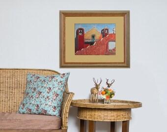 "home decor - ""Pueblo Mission"" - giclée print - living room - wall art"