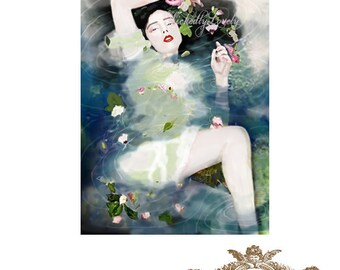The Ondine, woman, water, reflection, flowers, blue, woman in water, WickedlyLovely  blank Greeting Card