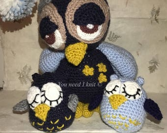Handmade Sleepy owl crochet baby decor