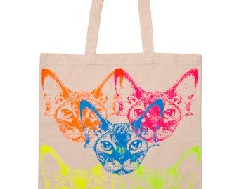 RAINBOW SPHYNX HEAD screenprinted cat tote bag