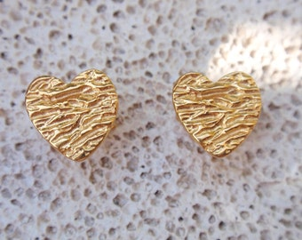 gold heart textured stud earrings heart post earrings gift for women kids earrings