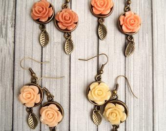 Pastel Rose Dangle Earrings Roses Flower Drop Earrings Peach Earrings Flower Rose Earrings Victorian Earrings Ivory Earrings Nude Earrings