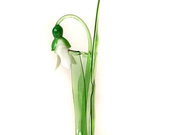 Tender Snowdrop Flower Figurine. Blown glass ornament, flower composition, miniature glass snowdrop statuette