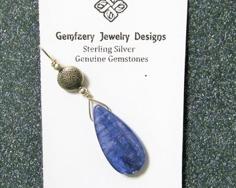 Sterling Silver Wire-Wrapped Natural KYANITE Teardrop Gemstone Pendant...Handmade USA