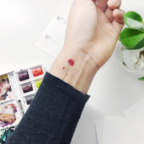 Mini Temporary Tattoos Flower Set Of 4, Flower Tattoo,Rose,Cosmos, Poppy, Carnation,New Fall Look,Handmade,Floral Temporary,Body Art, Winter by Etsy
