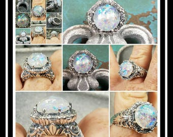 Ornate Memorial Ash Sterling Silver Ring /Memorial Ash Cremation Ring/Pet Memorial/more than 90 Color Options/Gold and Rose Gold Available