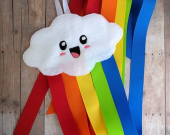 Happy Rainbow Cloud Hair Bow and Clip Holder, Acrylic Felt and Grosgrain Ribbon, Holds Lots of Hair Clips, Made in USA, Clip Keeper