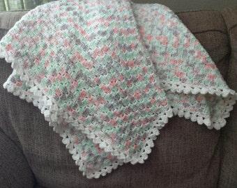 Crocheted Building Blocks Baby Blanket, Afghan, Baby Gift