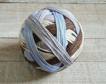 DYED TO ORDER: Hand Dyed Self Striping and Speckled Sock Yarn ~ Snowbird ~ Brown, silver, light blue and black/brown speckled stripes