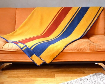 Thick Wool Blanket Classic Stripes Blue & Rust on Marigold Yellow Merino Crocheted Edge