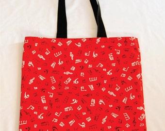 Red Notes Printed Tote Bag