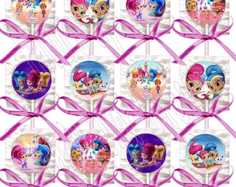 Shimmer and Shine Nickelodeon Nick Jr Lollipops, One Dozen 12 pcs with Hot Pink Ribbon Bows, 4 inch lollipop w stick , 1.5 inch diameter