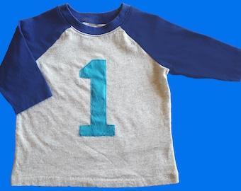 Boys 1st First Birthday Baseball Style Tee 12-18 months