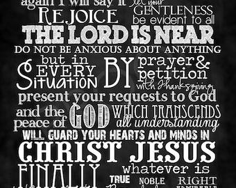 Scripture Chalkboard Art - Philippians 4:4-8