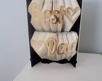Gift for dad - folded book art - dad gift - unique dad gift - dad birthday gift - fathers day gift - origami gift - book sculpture - paper
