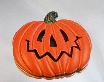 BIG SALE Vintage Pumpkin Brooch. Shadowbox. Fall Pin. Autumn.  Jack-O-Lantern.