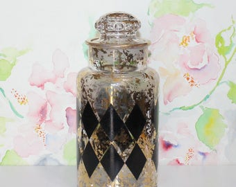 Vintage Gold Splatter, Lidded Jar with Black Diamond Pattern