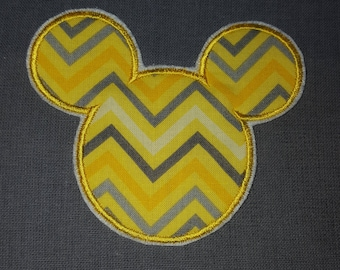 Yellow Chevron Mickey Mouse Ears Disney Iron on No Sew Embroidered Patch Applique