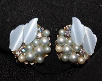 Blue Thermoset, Pearl & Rhinestone Earrings