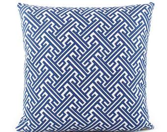 Trellis Cobalt Blue Pillow Cover, 18x18, 20x20, 22x22, 24x24, Eurosham, Square or Lumbar Pillow, Throw Pillow, Accent Pillow, Toss Pillow