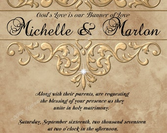 Printable Wedding Invitation, 6x9 elegant size,  Suite, Custom Name Invitation, RSVP Combo Info Card, Style 01wi, 01ws