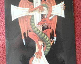 Alchemy , 1987 official , sinistrus , cross, runes and dragons. collection postcard.