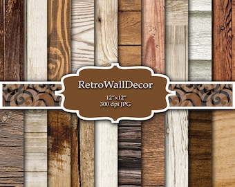 Rustic Wood Digital Paper Set with distressed wood textures ,  Distressed Wood , Rustic Wood , Digital paper pack 12x12 Buy 2 Get 1 FREE
