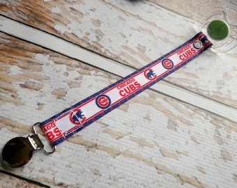 Baby Pacifier Clip - Chicago Cubs Symbol Baseball (Shabby Rose or Feltie Option) Baby Boy Baby Girl
