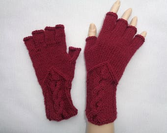 Hand-knitted burgundy color gloves with half fingers, Gloves & Mittens, Gift Ideas, Grey gloves, Christmas gift, Arm warmers