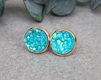 Teal Stud Earrings, Turquoise Druzy Earrings, Turquoise Stud Earrings, Turquoise Earrings, Teal Earrings, Rose Gold Earrings, Teal Posts
