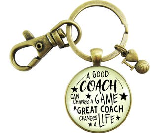 Volleyball Coaching Keychain A Great Coach Changes a Life Bronze Pendant Key Chain