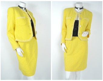 90s 80s yellow Tweed matching 2 pc jacket skirt outfit set