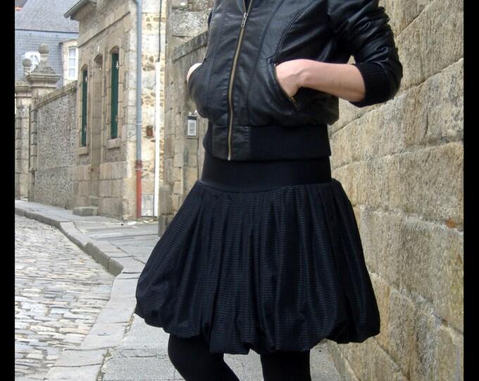 Featured listing image: Skirt pleated black ball fine silver stripe acetate. Creative woman black skirt. Rock skirt