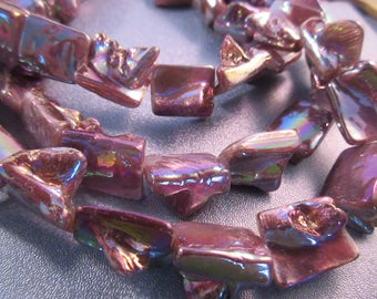 Metallic Mother Of Pearl Shell Rectangle Beads 24pcs