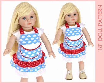 18 inch doll pattern, 18 inch doll clothes patterns, Doll Apron Pattern, Doll Patterns, 18 doll clothes patterns, DOLL APRON