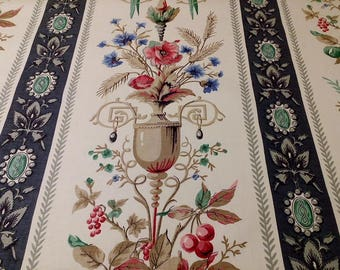 Regency Inspired Fruit and Urn Novelty Stripe Print Fabric Cotton Cloth Decor Craft Material