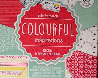 Block 50 scrapbooking paper sheets 15 X 15 bright colors inspired * paper pad 6 x 6