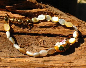Brown Lip Shell and Cloissone Bracelet with Magnetic Clasp~Floral~Ostara~Jewelry