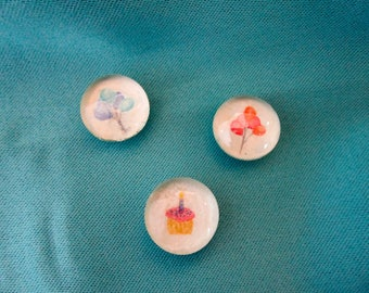 Birthday Magnets, Watercolor Bubble Magnets, Celebration Party Pack