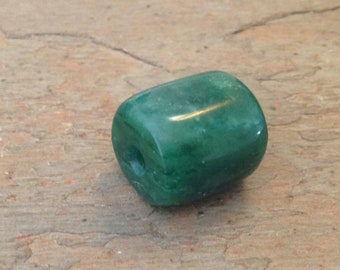 Hand Carved Green Fuchsite Bead.