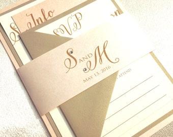 Wedding Invitations - Gold Wedding Invitation - Blush and Gold Wedding Invitations