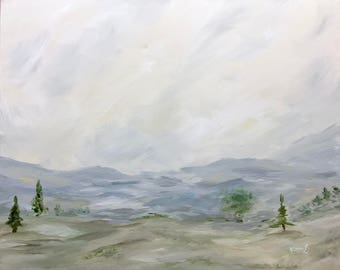 Landscape Original Acrylic Painting Abstract Artwork