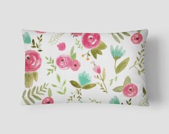 """Rose Floral // Decorative Pillow Cover 12""""x18"""" // Lumbar Pillow // Rectangular Throw Pillow"""